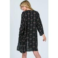 Bohemian Collect Black Geo Kimono Duster