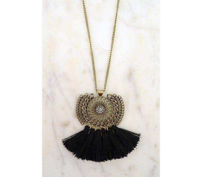 Amulet Black Fringe Necklace