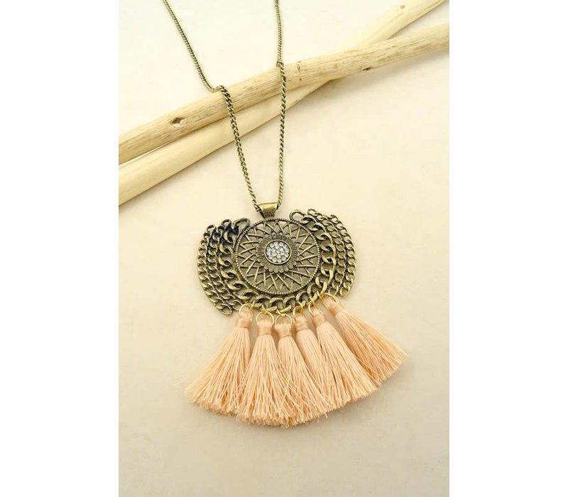 Amulet Peach Fringe Necklace