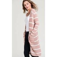 Blush Pink Stripe Duster Cardigan