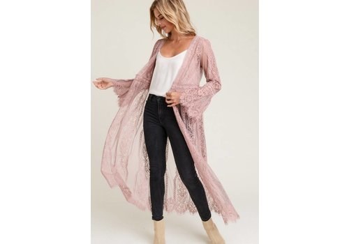 Bohemian Collect Scalloped Lace Kimono in Mauve