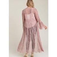 Bohemian Collect Scalloped Lace Kimono in Mauve
