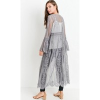 Bohemian Collect Scalloped Lace Kimono in Gray