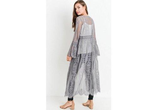 Bohemian Collect Scalloped Lace Kimono in Gray