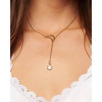Moon + Star Drop Necklace