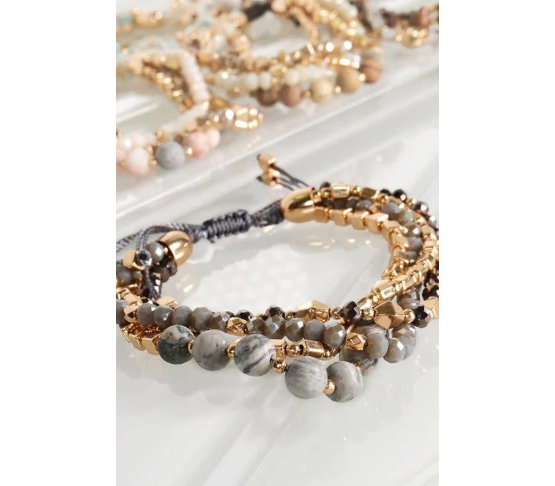 Natural Stone & Glass Bead Pull Tie Bracelets (5 colors)