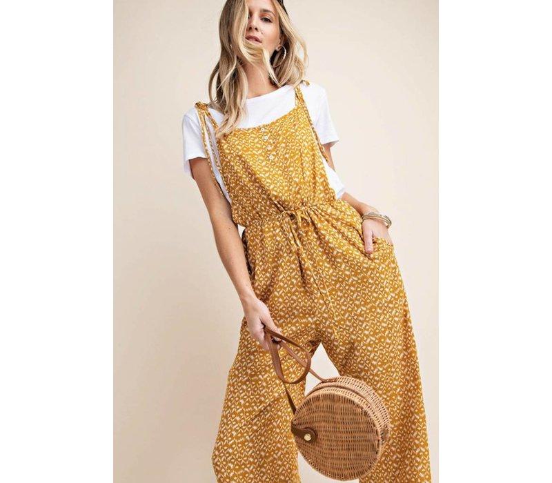 Mustard Shoulder Tie Jumpsuit