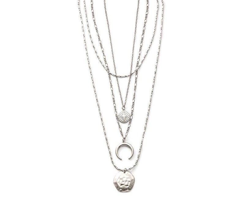 Silver Layered Moon Necklace