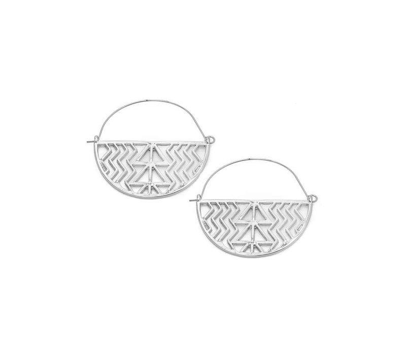 Silver Tribal Hoop Earrings