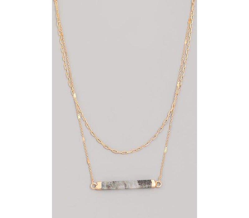 Layered Stone Bar Necklace