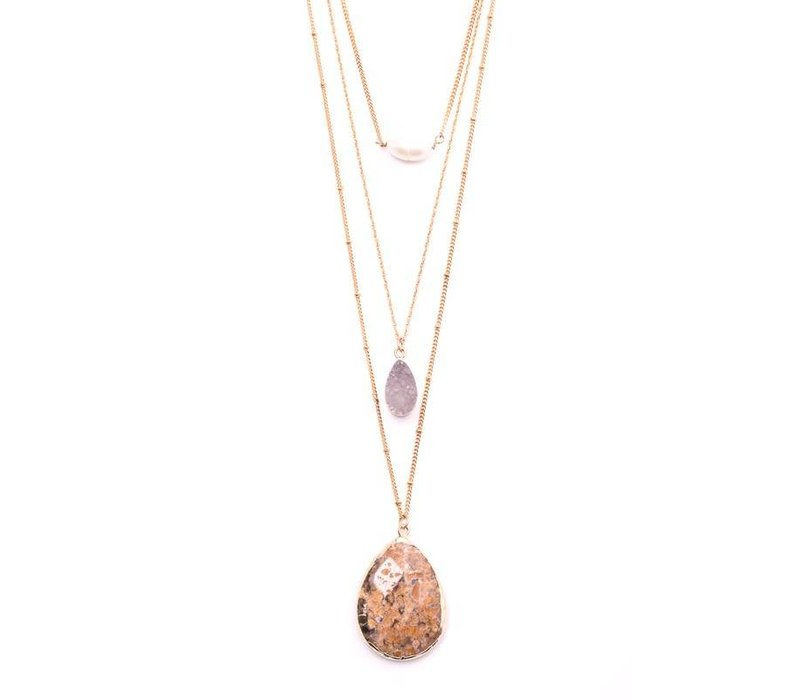 Druzy & Stone Layered Necklace