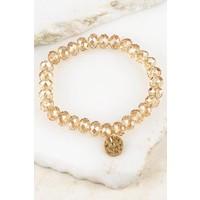 Crystal + Gold Disc Stacking Bracelets