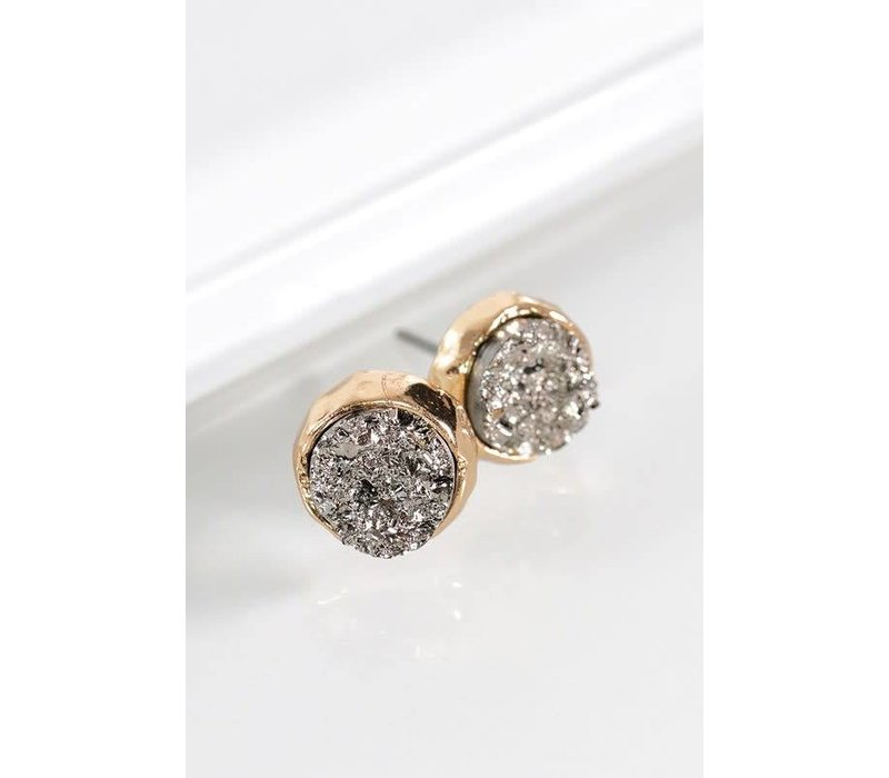Metallic Round Druzy Earrings