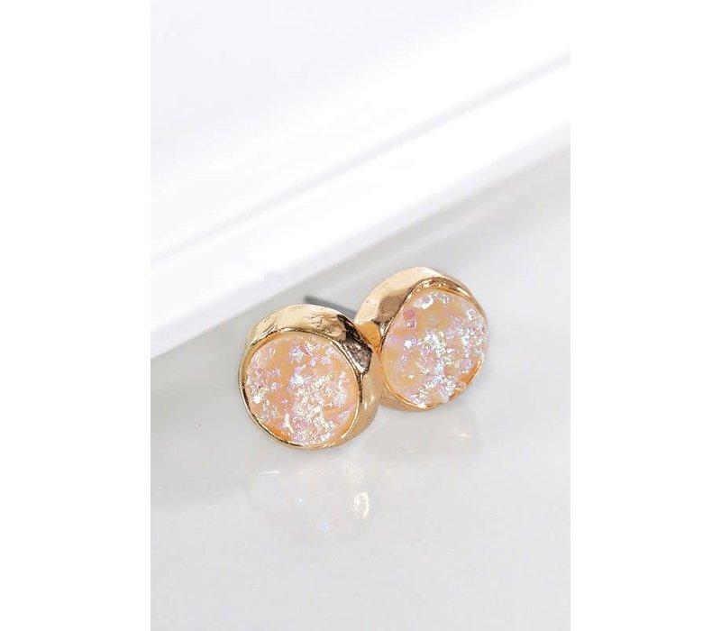 Metallic Round Druzy Earrings