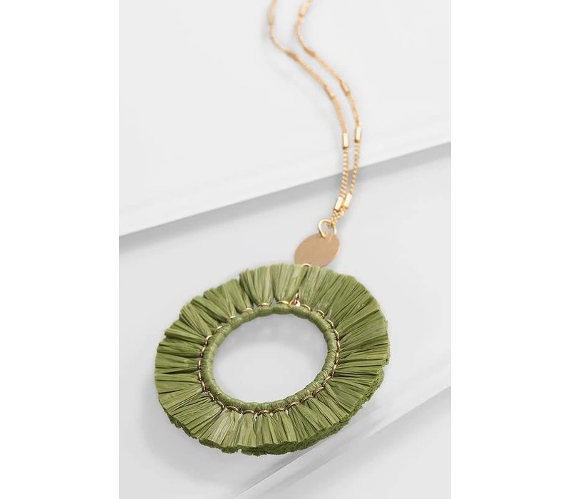 Raffia Circle Pendant Necklace