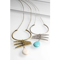 Boho Crescent Hook & Stone Necklace