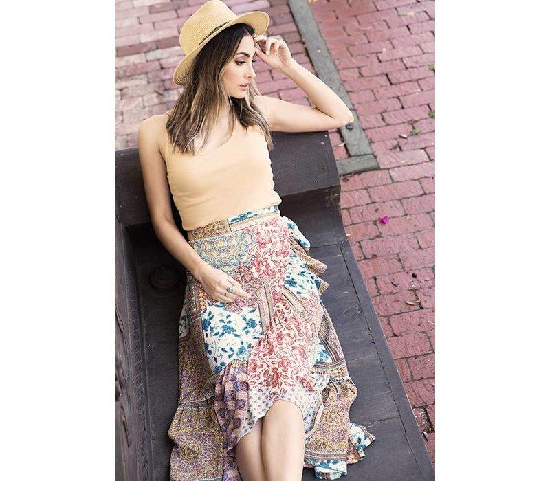 Boho Mix Print Maxi Skirt
