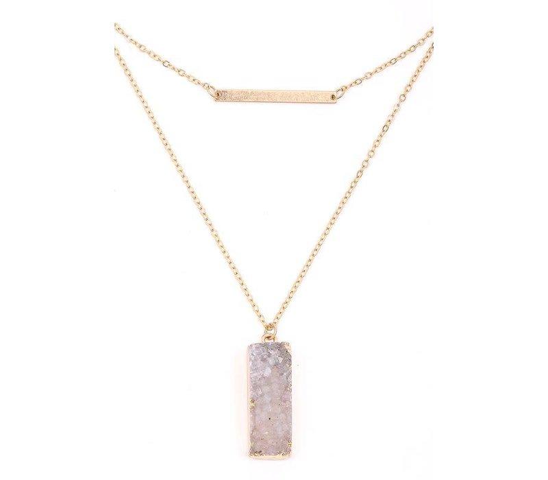 Bar & Druzy Necklace (3 Color Choices)