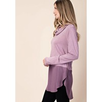 Purple Colorblock Cowlneck