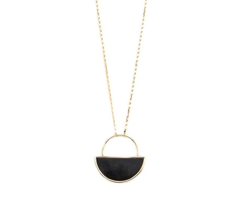 Black Half Circle Pendant Necklace