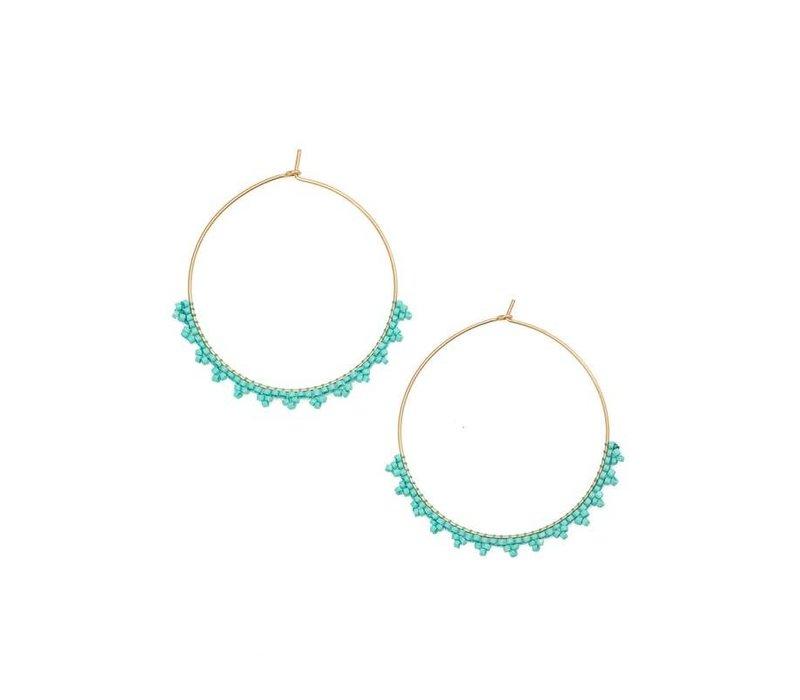 Boho Beaded Hoop Earrings (5 Colors)