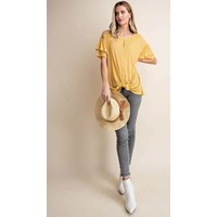 Mustard Ribbed Frill Sleeve Top