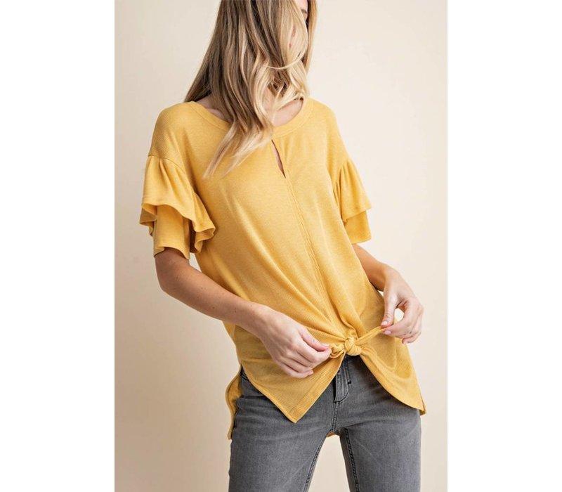 Mustard Ribbed Frill Sleeve Top