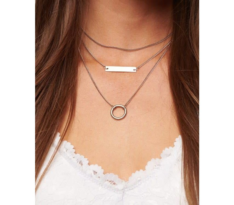 Boho Tiered Geo Bar Necklace in Silver