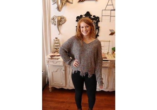 Gray Frayed Confetti Sweater