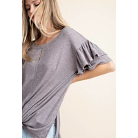 Gray Ribbed Frill Sleeve Top