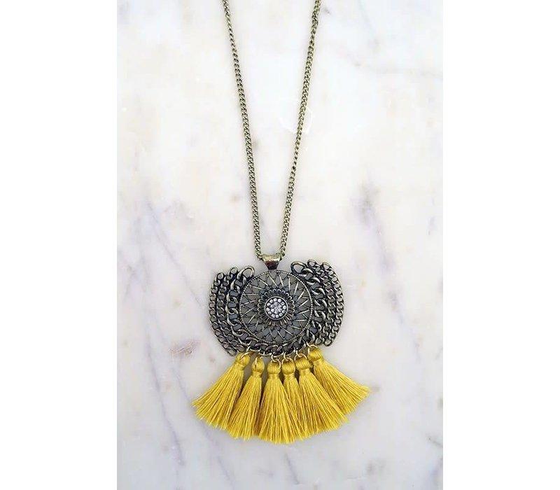 Amulet Mustard Fringe Necklace
