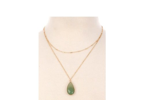 Double Chain Natural Stone Necklaces (5 Colors)