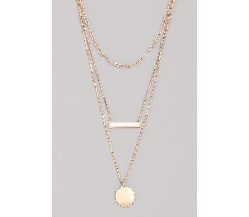 Layered Sun Pendant Necklace