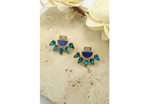 2 in 1 Blue Sparkly Earrings