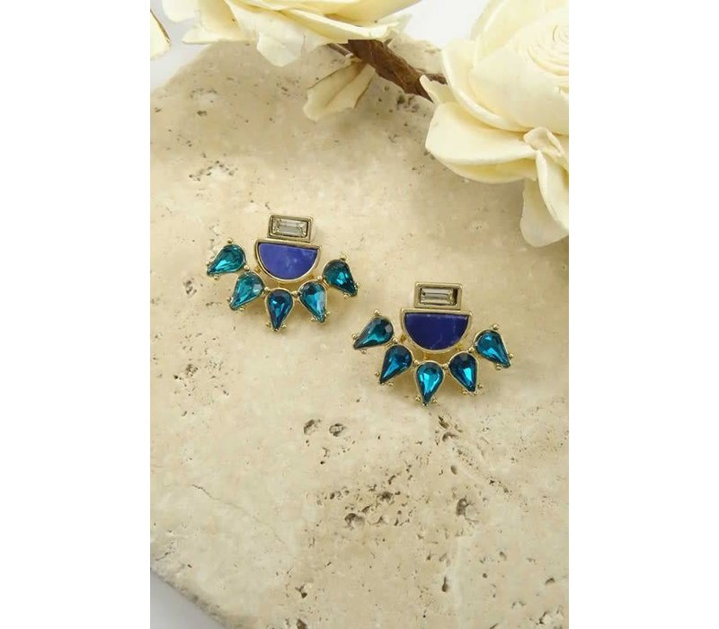 2 in 1 Blue Sparkle Earrings.