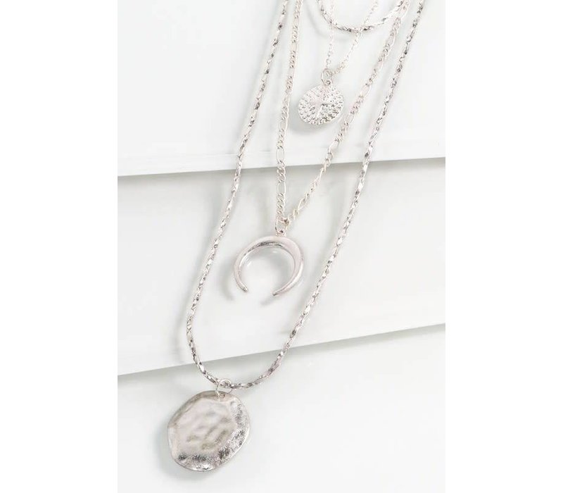 Silver Layered Hammered Circle Charm Necklace