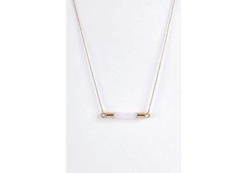 White Stone Bar Necklace
