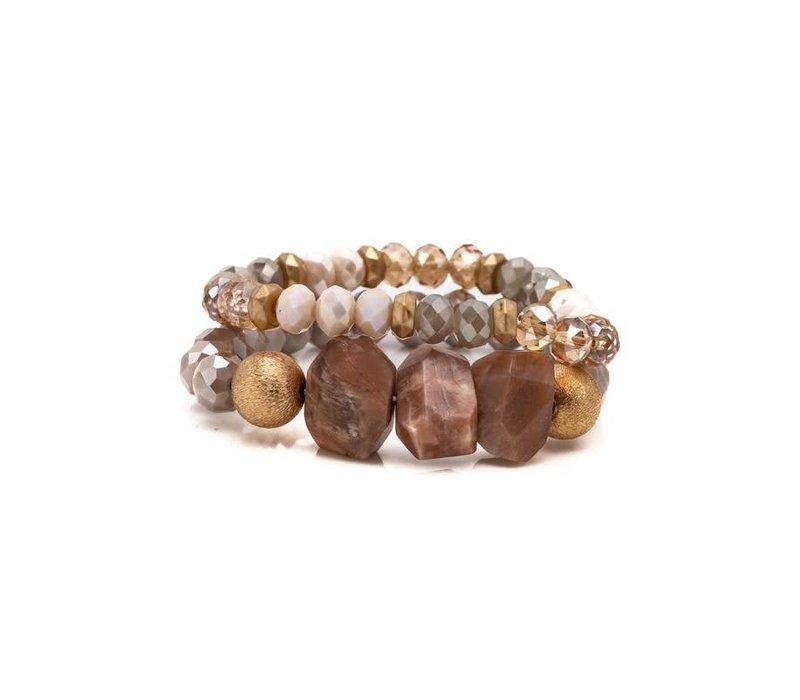 Cyrstal + Stone Bracelet Sets (3 Colors)