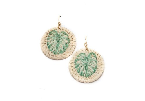 Palm Leaf Straw Earrings