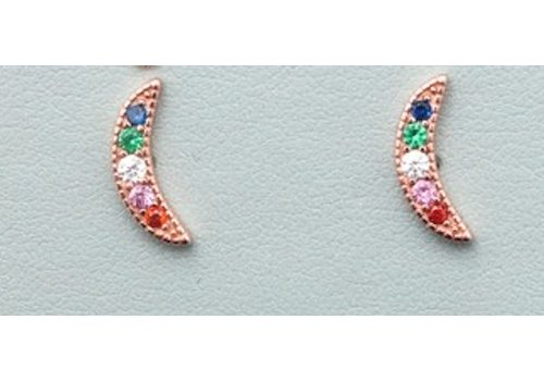 Colorful Crescent Moon Sterling Earrings