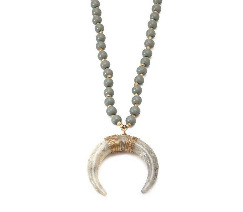 Tuscany Horn Statemnet Pendant Necklace