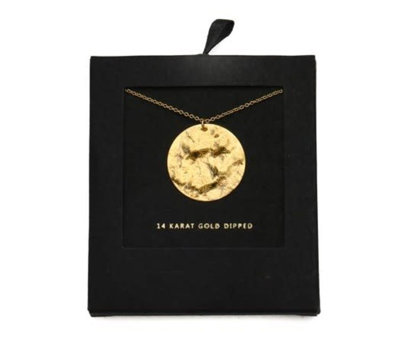 14k Gold Dipped Hammered Disc Necklace