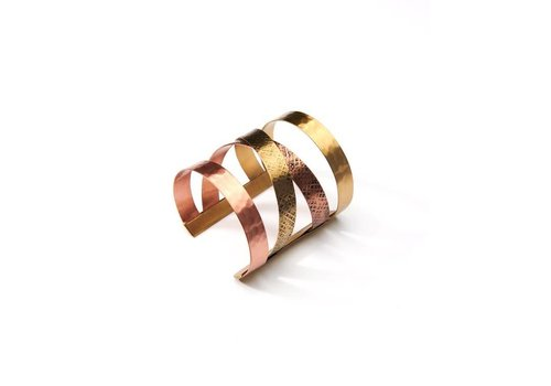 Copper & Antique Gold Crossover Cuff