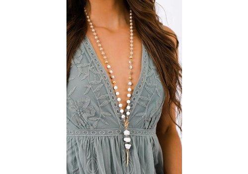 Boho White Beaded & Gold Feather Pendant Necklace