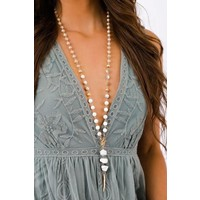 Boho White Beaded & Gold Feather Pendant Necklace