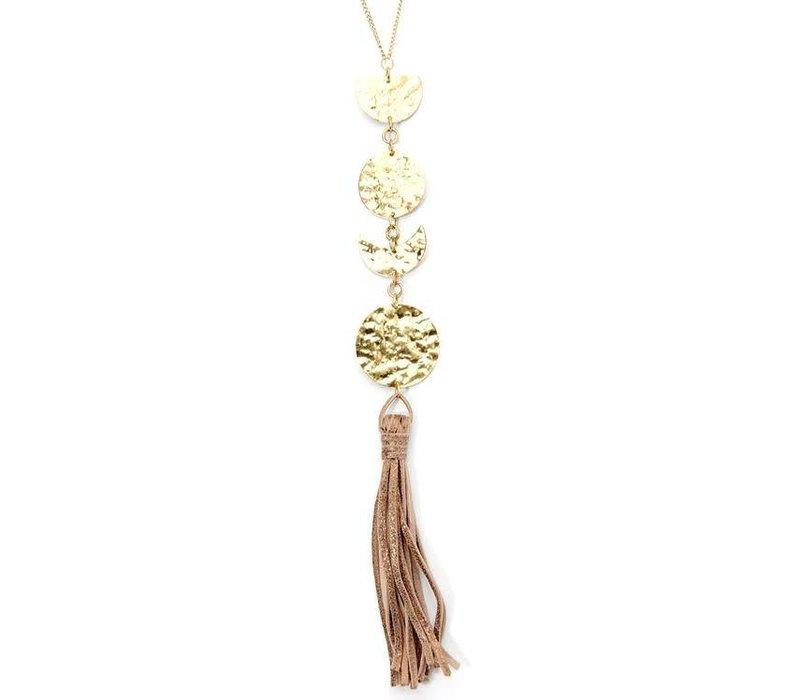 Boho Moon Phase Tassel Necklace