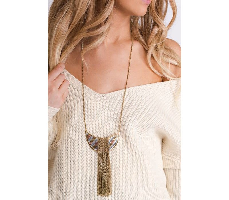Boho Metallic Medallion & Chain Necklace
