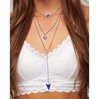 Boho Silver & Blue Stone Necklace