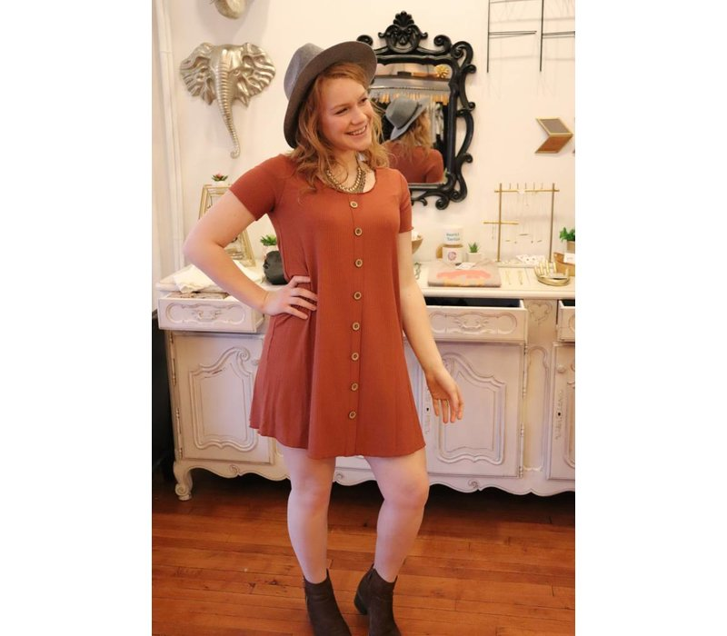 Rust Button Front Ribbed Tshirt Dress