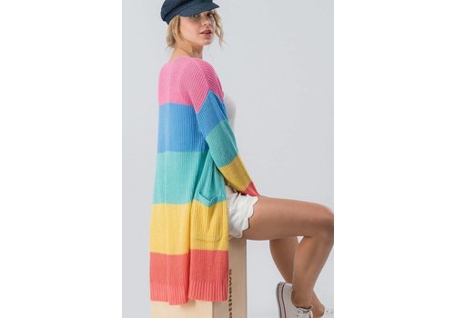 Spring Rainbow Colorblock Sweater Cardi